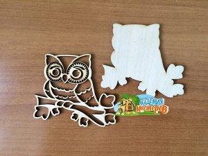 Сова Сова, (продается в палетках), размер 8*9 см, материал фанера 3 мм.   Заготовка выполнена из влагостойкой фанеры толщиной 3 мм. Обрабатывать поверхность перед декорированием рекомендуется шкуркой