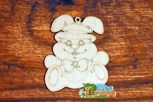 Зайчик Зайчик, (продается в палетках), размер 9*11 см, материал фанера 3 мм.   Это изделие может быть использовано как новогоднее украшение на елку.  Заготовка выполнена из влагостойкой фанеры толщино