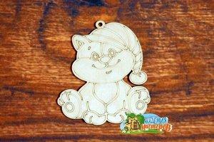 Кот Кот, (продается в палетках), размер 11*9 см, материал фанера 3 мм.   Это изделие может быть использовано как новогоднее украшение на елку.  Заготовка выполнена из влагостойкой фанеры толщиной 3 мм