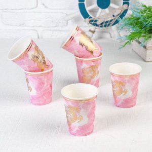 Стакан бумажный «Золотой единорог», набор 6 шт., цвет розовый