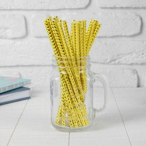 Трубочки для коктейля «Зигзаг», набор 25 шт., цвет жёлто-золотой