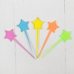 Шпажки для канапе «Звезда», набор 24 шт., цвета МИКС