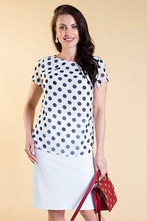 Блуза шифоновая (белая в синий горох) Б1445-1