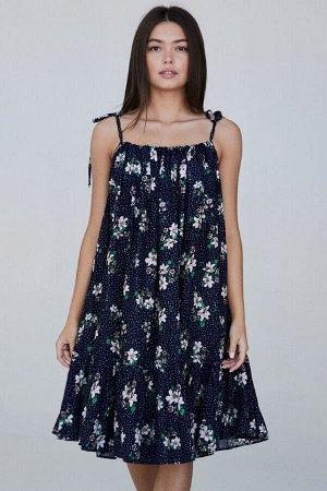 Сарафан 361/1, темно-синий/принт цветы