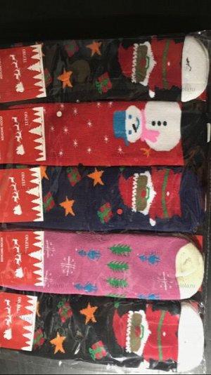 Термо-носки с махровым начесом новогодняя тематика детские, женские, мужские
