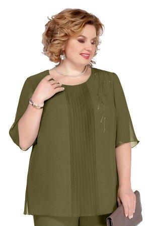 Блуза Блуза Pretty 1085 хаки  Состав: ПЭ-100%; Сезон: Весна-Лето  Блуза прямого силуэта, выполненная из шифона. Имеет по переду узкую вертикальную вставку с плиссе. Вырез горловины округлый. Рукав вт
