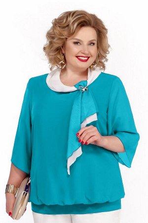 Блуза Блуза Pretty 380 бирюза  Состав: Вискоза-20%; ПЭ-80%; Сезон: Осень-Зима Рост: 164  Блуза прямого силуэта на эластичном притачном поясе по низу, который формирует легкую сборку по линии притачив