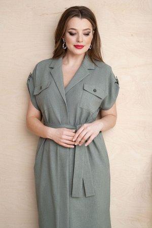 Платье Платье ЮРС 20-363/1  Состав ткани: Вискоза-18%; ПЭ-70%; Лён-12%;  Рост: 164 см.  Платье в стиле сафари всегда остается в фаворитах моды и подходит каждой женщине. Оно отлично сочетает в себе ф