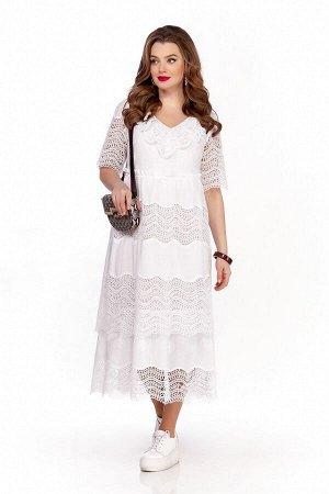 Платье Платье TEZA 1243 белый  Состав ткани: Хлопок-100%;  Рост: 164 см.  Платье из тонкой хлопковой ткани с ажурным краем полуприлегающего силуэта. Рукав втачной до локтя. Платье отрезное выше линии