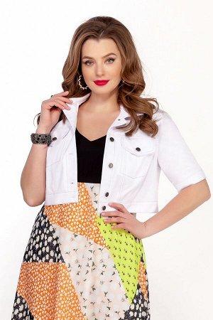 Куртка Куртка TEZA 1343 белый  Состав ткани: ПЭ-40%; Лён-60%;  Рост: 164 см.  Короткая легкая джинсовая куртка выполнена из льняной ткани с контрастными отделочными строчками. Рукав втачной короткий