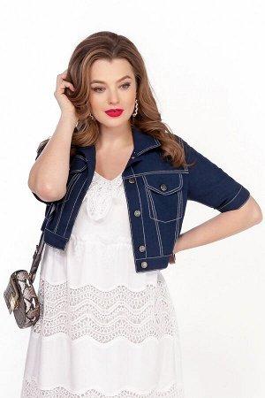 Куртка Куртка TEZA 1343 синий  Состав ткани: ПЭ-40%; Лён-60%;  Рост: 164 см.  Короткая легкая джинсовая куртка выполнена из льняной ткани с контрастными отделочными строчками. Рукав втачной короткий