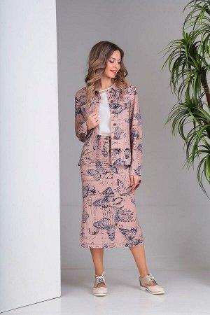 Юбка, куртка SandyNa Артикул: 13708 розовый+бабочки