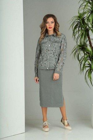 Юбка, куртка SandyNa Артикул: 13712 дымчато-серый