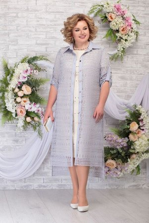 Блуза, платье Ninele 5805 беж-серо_голубой