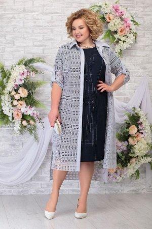 Блуза, платье Ninele 5805 синий-серо_голубой