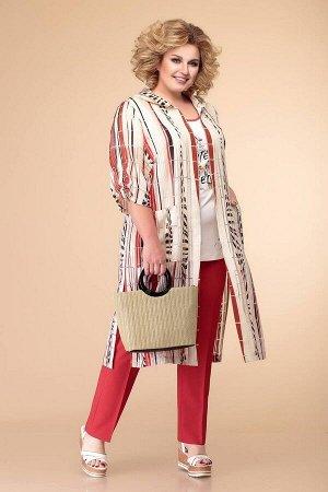 Блуза, брюки, кардиган Romanovich Style Артикул: 3-2006 белый/красный