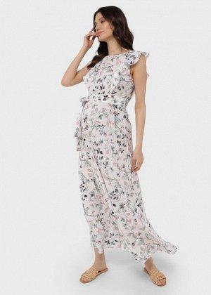 """Длинное летнее платье с цветами и воланом для беременных и кормления """"Амина"""", молочный"""