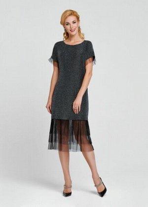 ПЛАТЬЕ ЭЛЕКТРИК  Модное платье из трикотажного полотна с фольгированным напылением в стиле спорт-шик. Изделие дополненно юбкой  из микросетки, которая добавляет завуалипованной длинны и создает интере