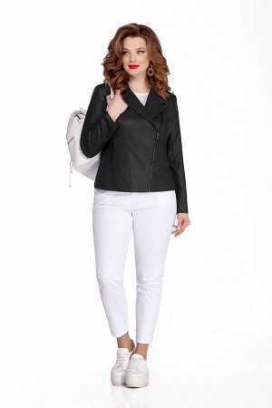 Костюм Костюм TEZA 646 чёрный  Состав ткани:Жакет: Вискоза-10%; ПЭ-90%; Брюки: Хлопок-96%; Эластан-4%;  Рост: 164 см.  Комплект в спортивном стиле состоит из кожаной куртки и узких брюк из джинсовой