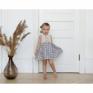 Платье для девочки MINAKU: cotton collection, рост 98, цвет молочный/синий