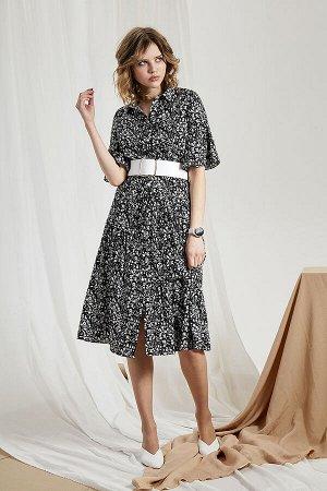 Платье Платье Divina 1.278  Состав ткани: Вискоза-100%;  Рост: 164 см.  Платье рубашечного фасона и длиной миди из вискозного полотна, приятного ктелу. Красивые платья с цветочным принтом - это тренд