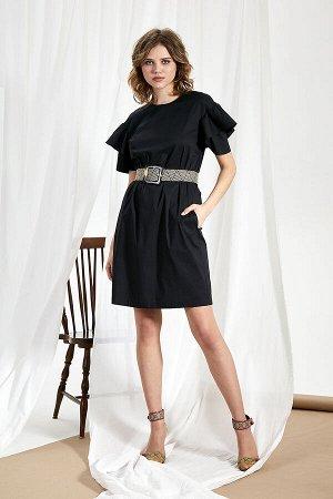 Платье Платье Divina 1.274  Состав ткани: ПЭ-23%; Хлопок-74%; Эластан-3%;  Рост: 164 см.  Стильное и универсальное маленькое чёрное платье позволяет создать множество разных образов: офисный, повседн