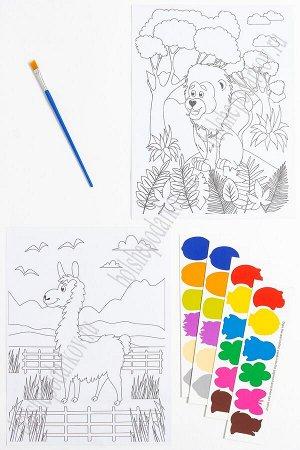Раскраска с красками 19,5*26 см (2 листа) SF-5666, №1