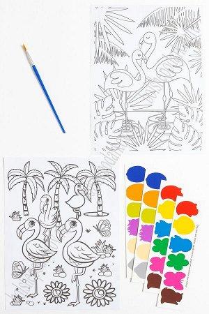 Раскраска с красками 19,5*26 см (2 листа) SF-5666, №3