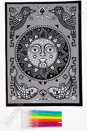 Раскраска бархатная с фломастерами 28*38 см (2 листа) SF-5674, №4