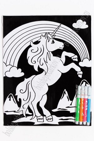 Раскраска бархатная с фломастерами 20,2*25,3 см (SF-5667) №1