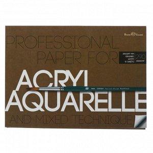 Бумага для акварели, акрила А4, 10 листов, блок 290 г/м2