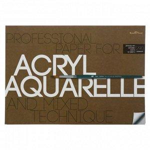 Бумага для акварели, акрила А3, 10 листов, блок 290 г/м2