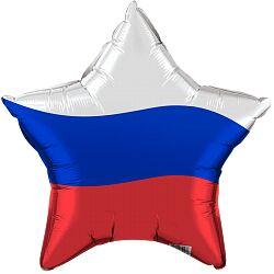 "Шар-звезда, фольга, 18""/46 см, ""Триколор. Россия"""