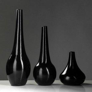 """Набор ваз """"Мирта"""", цвет черный, 48.5/38.5/ 21.5 см"""