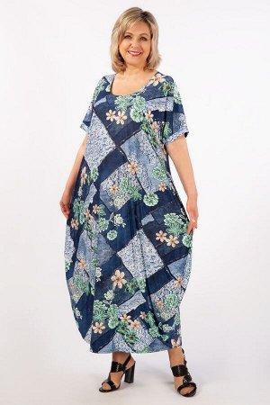 Платье Вероника-2 джинс/зеленый
