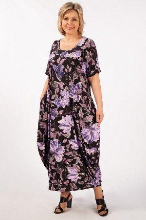 Платье листья сиреневые, цветы голубые, мятный/черный,Джинс/зеленый, джинс/желтый,  розовый/черный,  листья желтые,  листья сиреневые,   Лёгкое платье в стиле «бохо», тренд текущего сезона. Рукав цель