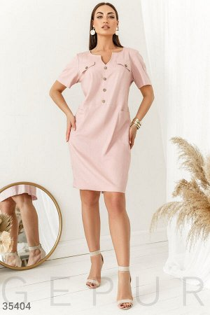 Повседневное розовое платье
