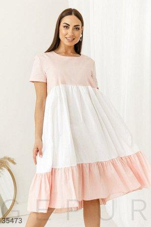 Расклешенное двуцветное платье