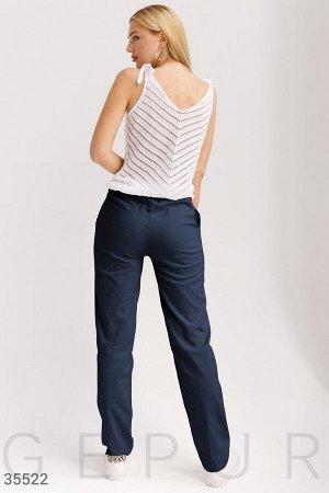 Льняные темно-синие брюки