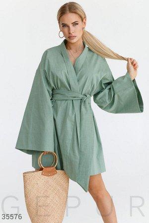 Платье-кимоно с объемными рукавами