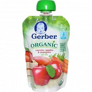 Gerber, Органическое детское питание, морковь, яблоки и манго, 3,5 унции (99 г)