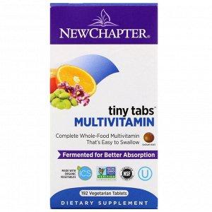 New Chapter, Multivitamin Tiny Tabs, полный витаминный комплекс на основе цельных продуктов, 192 вегетарианских таблетки