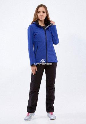 Женский осенний весенний костюм спортивный softshell темно-синего цвета 01907TS