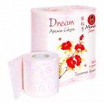 """Бумага туалетная """"Maneki"""" Dream 3 слоя, 167 л., 23 м, с роз. тиснением и ароматом Сакуры, 4 р/упак"""
