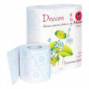 """Бумага туалетная """"Maneki"""" Dream 3 слоя, 167 л., 23 м, с гол. тиснением и ароматом утр. свеж., 4 р/уп"""