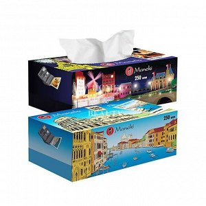 """Салфетки бумажные """"Maneki"""" Dream с ароматом Европы, 2 слоя, белые, 250 шт./коробка"""