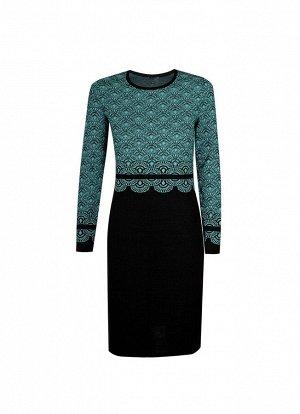 Платье вязаное 4177 К  Темно-бирюзовый, черный