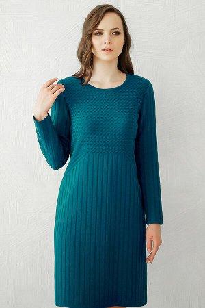 Платье вязаное 4147 К  Темно-бирюзовый