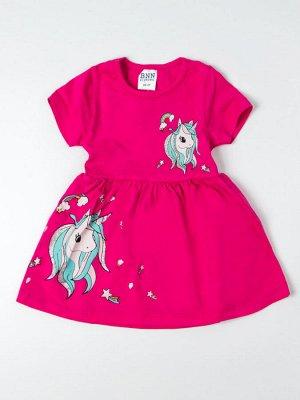 Платье трикотажное для девочки два единорога, малиновый