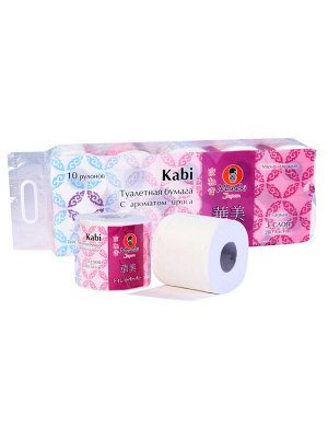 """Бумага туалетная """"Maneki"""" Kabi 3 слоя, 280 л., 39.2 м, гладкая, белая с ароматом Ириса, 10 р/упак"""